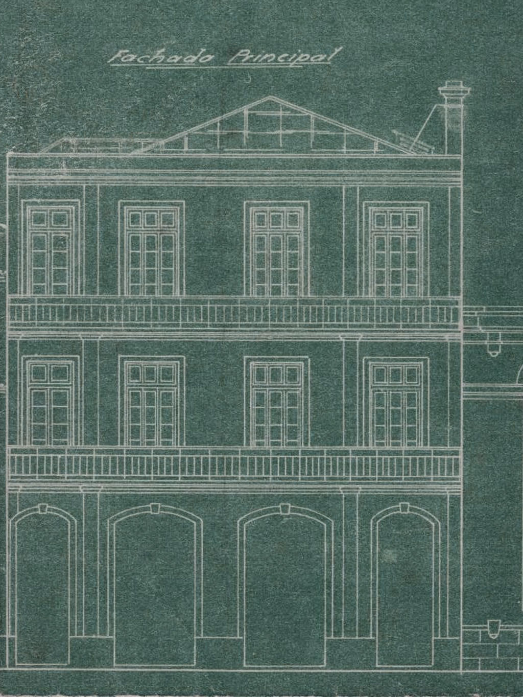 Plan of the main facade of the restaurant